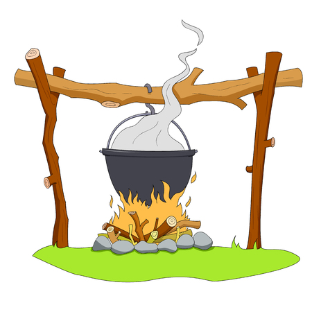 fire wood: Camping pot