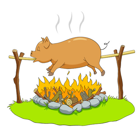 fire wood: Pig on a spit