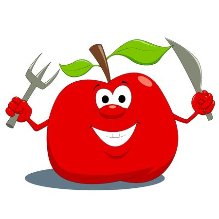 healty eating:  Hungry apple Illustration