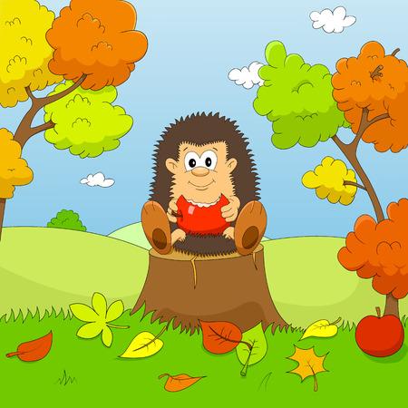 Hedgehog autumn Vector