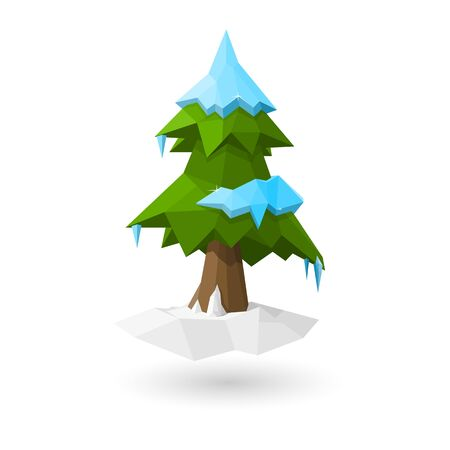 Low poly cristmas tree Illustration