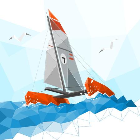 bateau de course: Faible catamaran poly Illustration