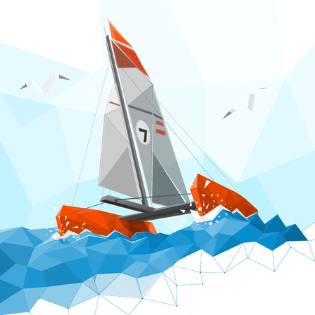 Low poly catamaran