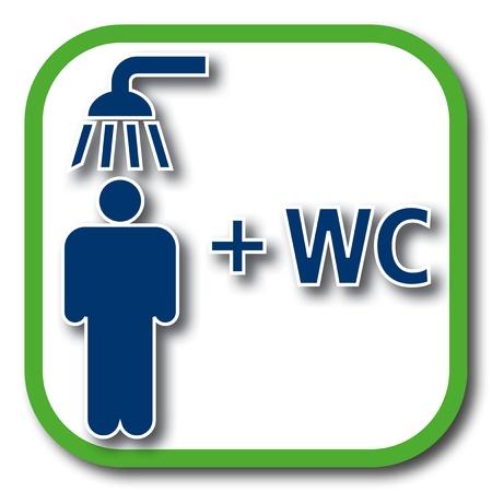 wc: Dusche sowie WC-Symbol