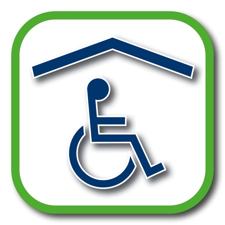 accessible: wheelchair accessible home icon Illustration