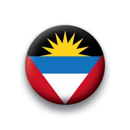 Flag button series Antigua and Borbuda Ilustração