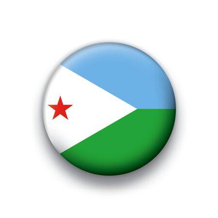 Flag button series Djibouti Vector