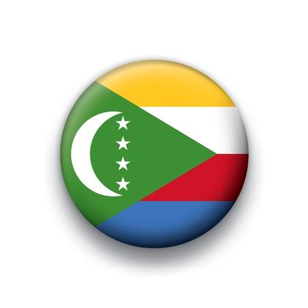 Flag button series Comoros Vector