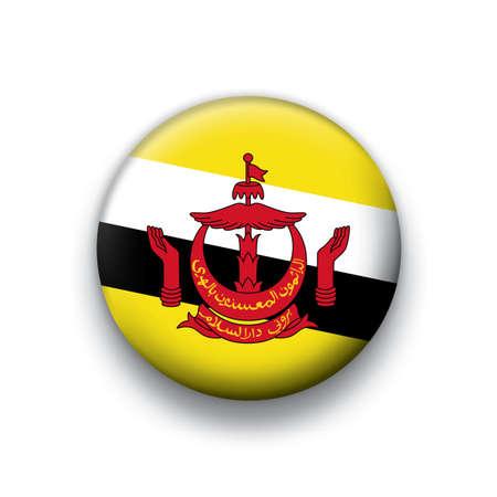 Flag button series Brunei Vector
