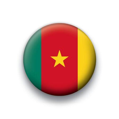 Flag button series Cameroon Vector