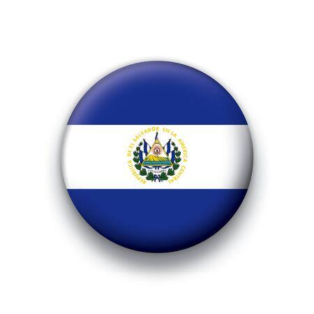 Flag button series El Salvador Vector