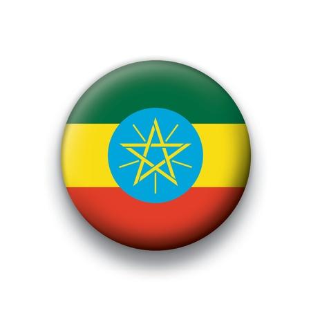 Flag button series Ethiopia Vector