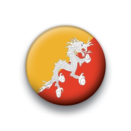 bhutan: Vlag knop series Bhutan Stock Illustratie
