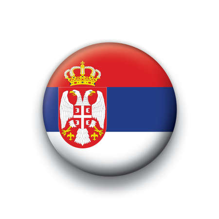 Flag button series Serbia Illustration