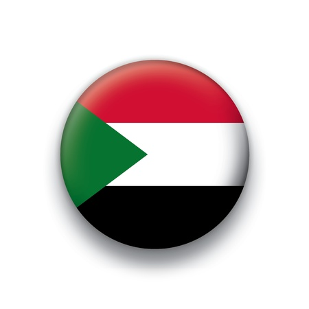 Vector flag button series of all sovereign countries - Sudan Vector