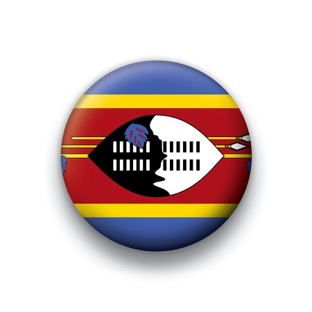 Vector flag button series of all sovereign countries - Swaiziland Vector