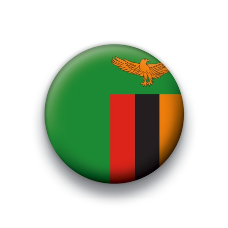 zambia: Vector flag button series of all sovereign countries - Zambia