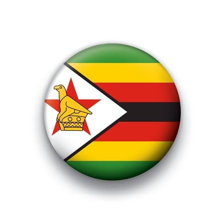 Vector flag button series of all sovereign countries - Zimbabwe Vector