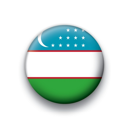 uzbekistan: flag button series of all sovereign countries - Uzbekistan Illustration