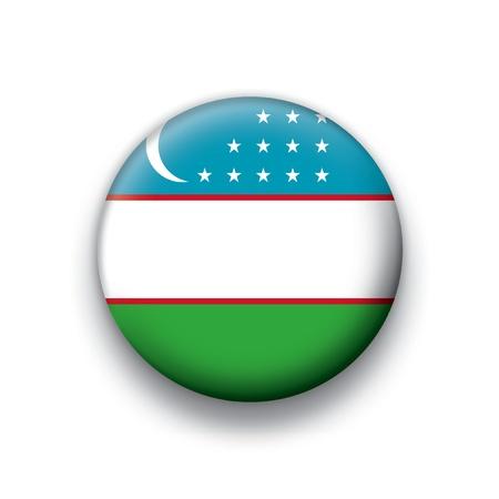 oezbekistan: vlag knop reeks van alle soevereine landen - Oezbekistan Stock Illustratie