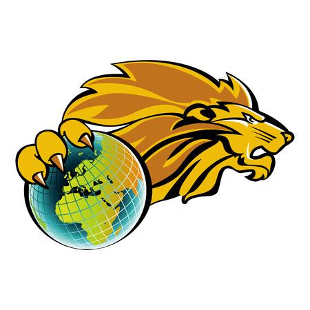 Lion possède le monde Banque d'images - 24894909
