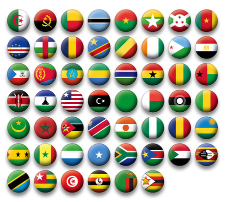 Set of buttons flags of Africa Vector