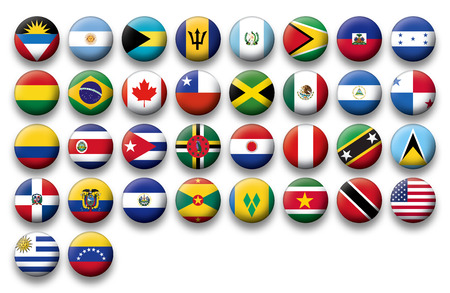 north america: Set of buttons flags of America