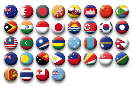 oceania: Set of buttons flags of Oceania and Pacific