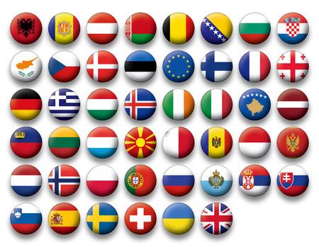 Conjunto de botones de banderas de Europa
