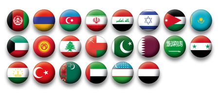 Set of buttons flags of Middle East Vector