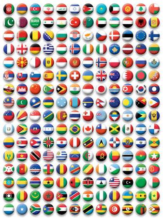 europeans: Insieme di pulsanti bandiere del Mondo Vettoriali