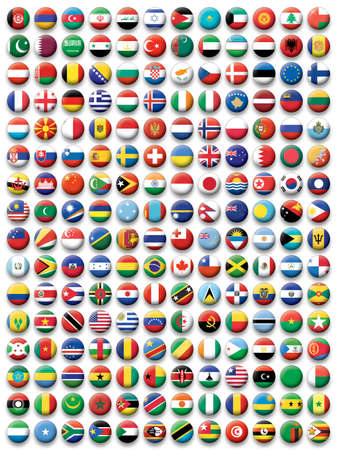south east: Set of buttons flags of the World Illustration