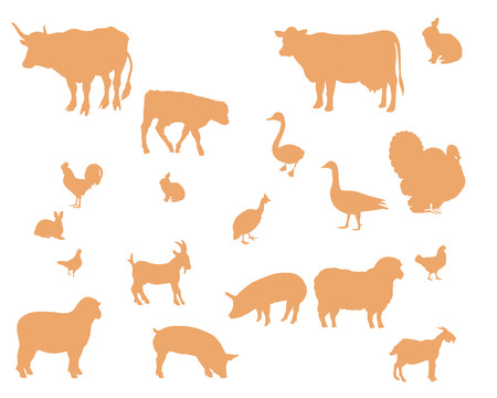 Farm animals vector silhouette Vector
