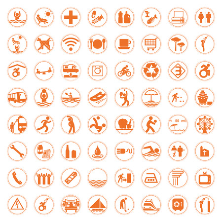 Travel and Tourismorange signs and symbols vector illustration Vector