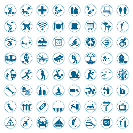 Travel and Tourism blue signs and symbols vector illustration Vector