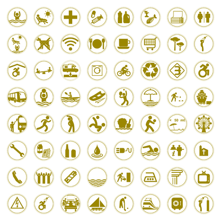 Travel and Tourism golden signs and symbols vector illustration Vector