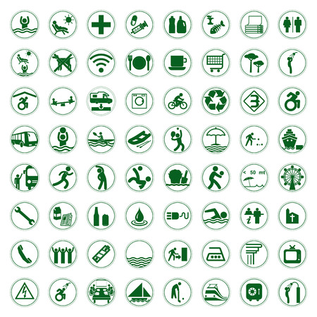 Travel and Tourism green signs and symbols vector illustration Vector