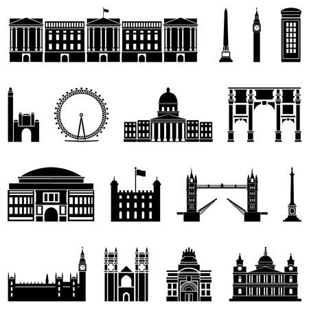Ilustración vectorial de los diferentes monumentos de Londres