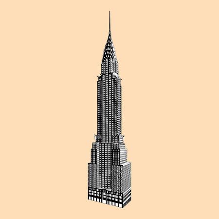 ニューヨーク有名なエンパイアステート ビルディング  イラスト・ベクター素材
