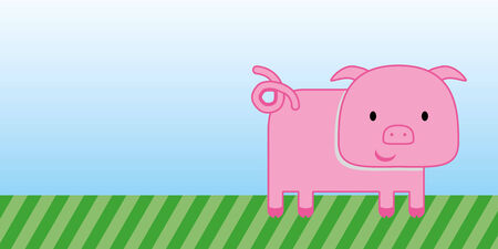 cute pig cartoon with green grass and blue sky