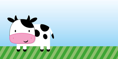 cute cow cartoon with green grass and blue sky