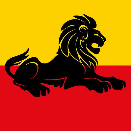 Illustration of a heraldic rampant lion