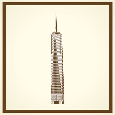 freedom tower: freedom tower postcard Illustration