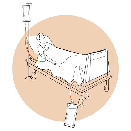 patient in bed: paciente acostado en la cama, cama m�dica, cama del paciente Vectores