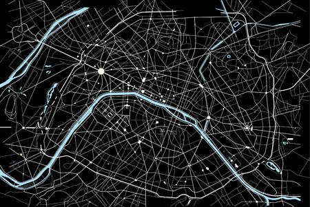 白と黒のパリ地図のベクトル イラスト  イラスト・ベクター素材