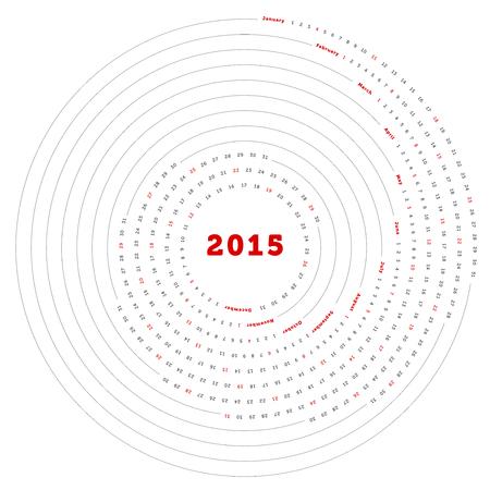 라운드 단순히 벡터 달력 2015