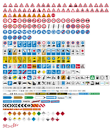 Highly detailed vector-Traffic Road Sign Collection Ilustração