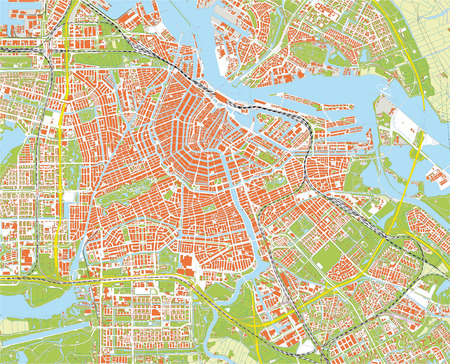 travel map: amsterdam city map Illustration