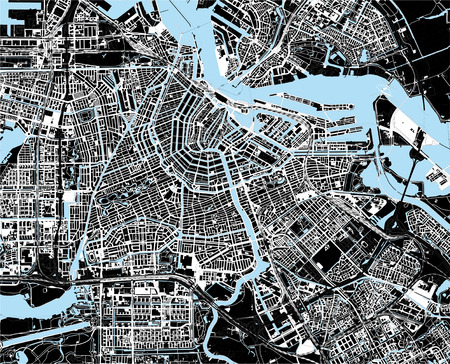 black and white amsterdam city map Vector