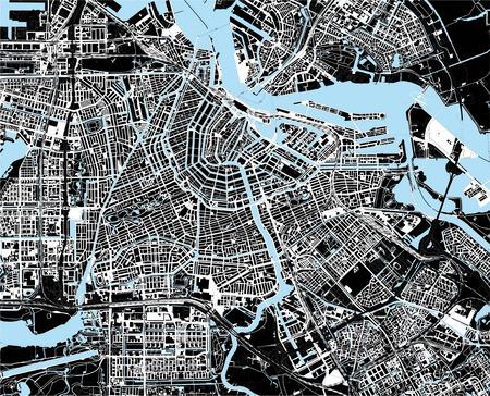 topografia: mapa en blanco y negro de la ciudad de Amsterdam Vectores